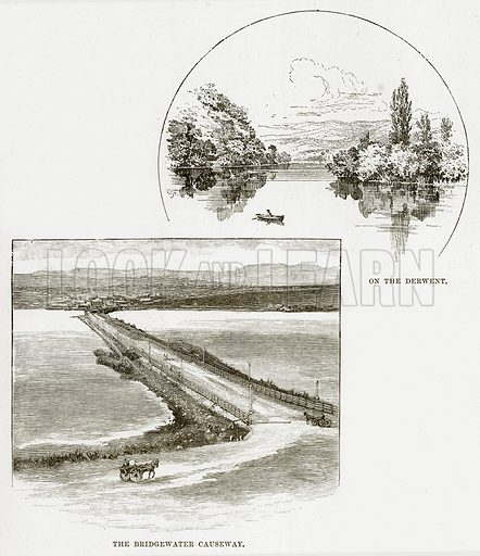 On the Derwent. The Bridgewater Causeway. Illustration from Cassell's Picturesque Australasia by EE Morris (c 1889).