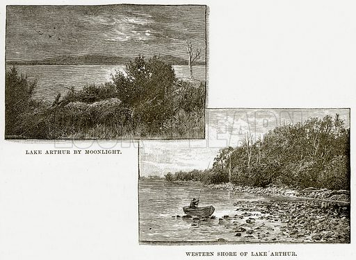 Lake Arthur by Moonlight. Western Shore of Lake Arthur. Illustration from Cassell's Picturesque Australasia by EE Morris (c 1889).