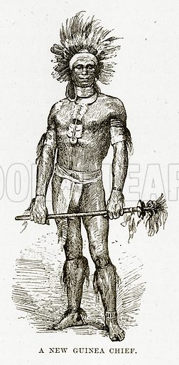 A New Guinea Chief. Illustration from Cassell's Picturesque Australasia by EE Morris (c 1889).