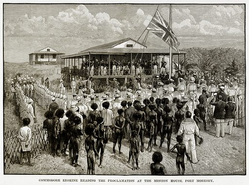 Commodore Erskine reading the Proclamation at the Mission House, Port Moresby. Illustration from Cassell's Picturesque Australasia by EE Morris (c 1889).