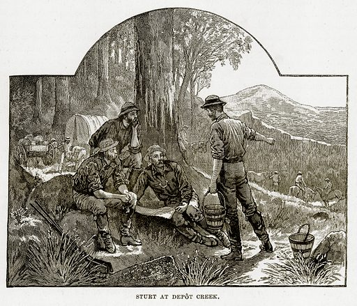 Sturt at Depot Creek. Illustration from Cassell's Picturesque Australasia by E E Morris (c 1889).