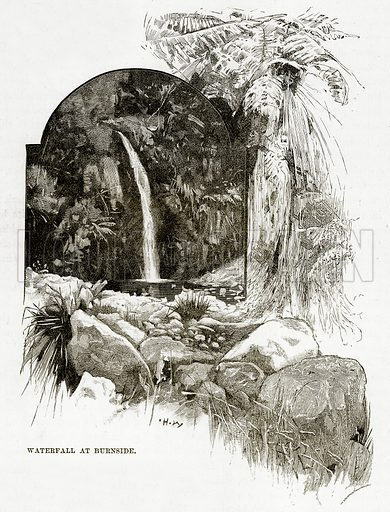 Waterfall at Burnside. Illustration from Cassell's Picturesque Australasia by EE Morris (c 1889).