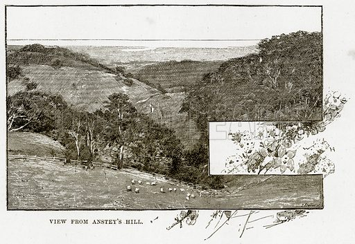 View from Anstey's Hill. Illustration from Cassell's Picturesque Australasia by EE Morris (c 1889).