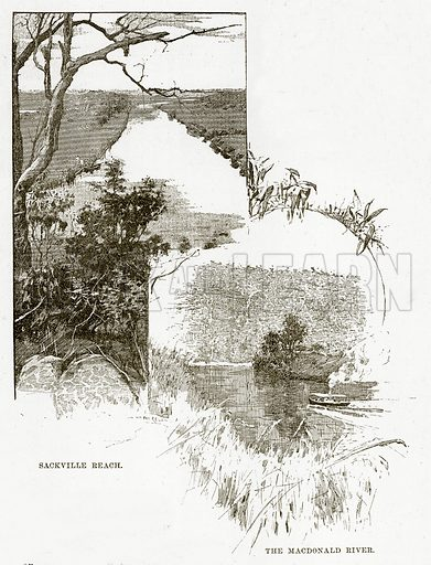 Sackville Reach. The Macdonald River. Illustration from Cassell's Picturesque Australasia by EE Morris (c 1889).