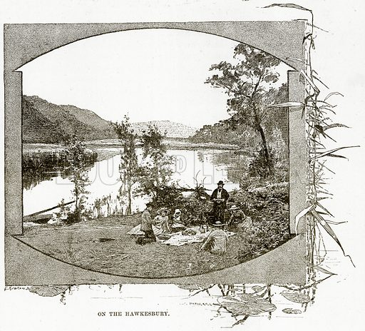 On the Hawkesbury. Illustration from Cassell's Picturesque Australasia by EE Morris (c 1889).