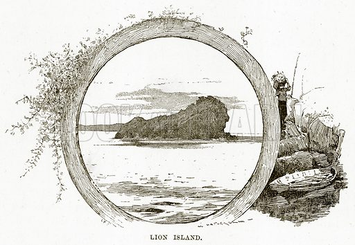 Lion Island. Illustration from Cassell's Picturesque Australasia by EE Morris (c 1889).