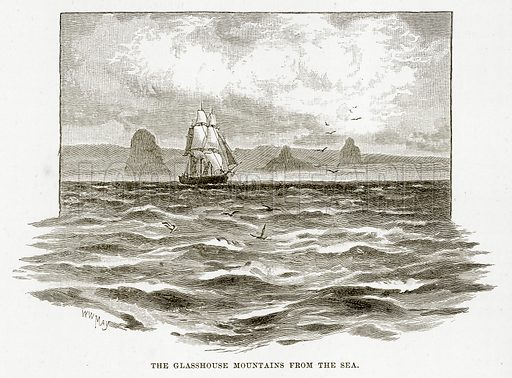 The Glasshouse Mountains from the Sea. Illustration from Cassell's Picturesque Australasia by EE Morris (c 1889).
