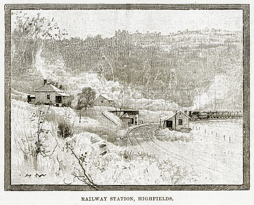 Railway Station, Highfields. Illustration from Cassell's Picturesque Australasia by EE Morris (c 1889).