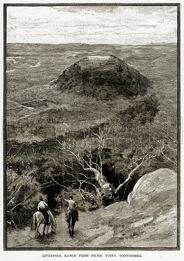Liverpool Range from Picnic Point, Toowoomba. Illustration from Cassell's Picturesque Australasia by EE Morris (c 1889).