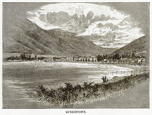 Queenstown. Illustration from Cassell's Picturesque Australasia by EE Morris (c 1889).