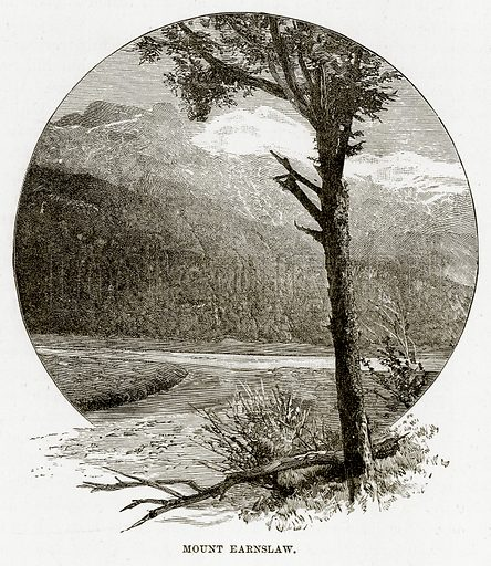 Mount Earnslaw. Illustration from Cassell's Picturesque Australasia by EE Morris (c 1889).