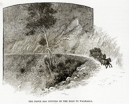 The Flour Bag cutting on the road to Walhalla. Illustration from Cassell's Picturesque Australasia by EE Morris (c 1889).