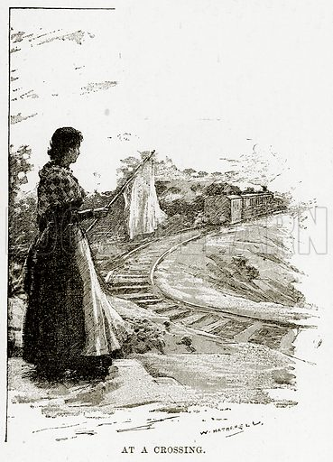 At a crossing. Illustration from Cassell's Picturesque Australasia by EE Morris (c 1889).