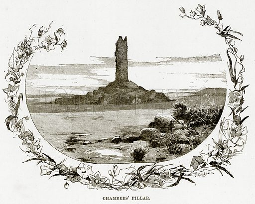 Chambers' Pillar. Illustration from Cassell's Picturesque Australasia by EE Morris (c 1889).