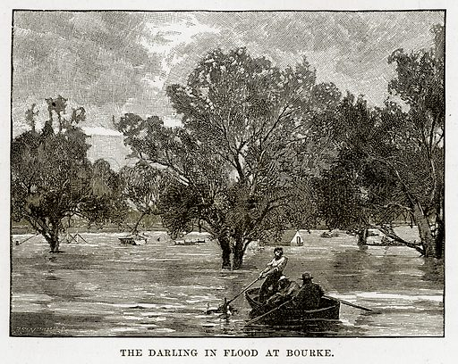 The Darling in flood at Bourke. Illustration from Cassell's Picturesque Australasia by EE Morris (c 1889).
