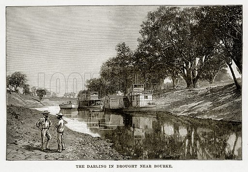 The Darling in drought near Bourke. Illustration from Cassell's Picturesque Australasia by EE Morris (c 1889).