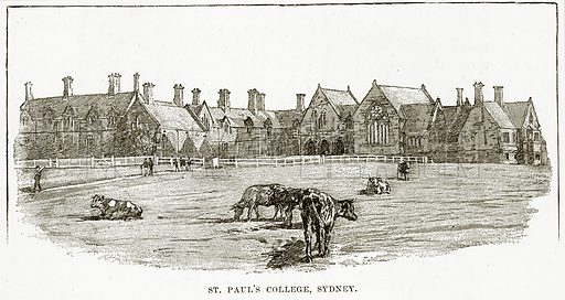 St Paul's College, Sydney. Illustration from Cassell's Picturesque Australasia by EE Morris (c 1889).