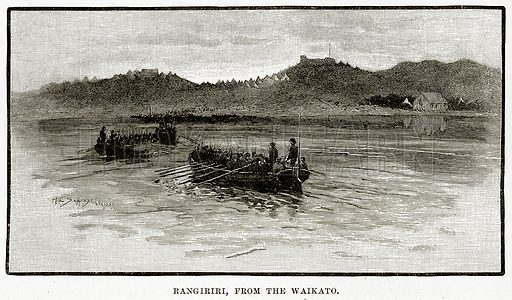 Rangiriri, from the Waikato. Illustration from Cassell's Picturesque Australasia by EE Morris (c 1889).
