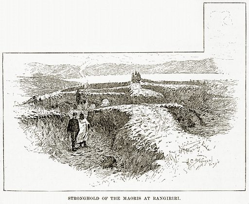 Stronghold of the Maoris at Rangiriri. Illustration from Cassell's Picturesque Australasia by EE Morris (c 1889).