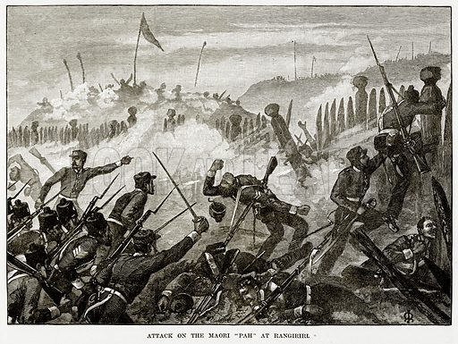 """Attack on the Maori """"Path"""" at Rangiriri. Illustration from Cassell's Picturesque Australasia by EE Morris (c 1889)."""