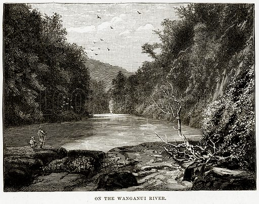 On the Wanganui River. Illustration from Cassell's Picturesque Australasia by EE Morris (c 1889).
