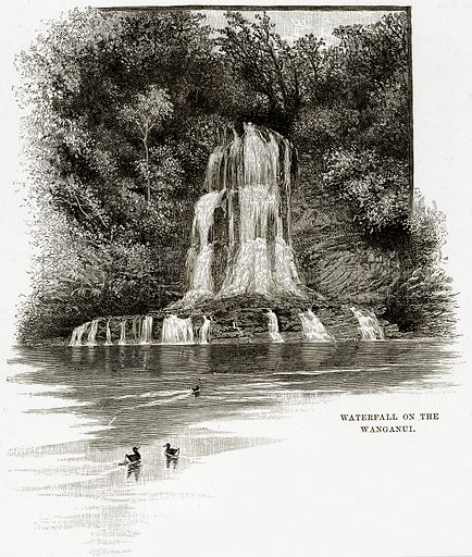 Waterfall on the Wanganui. Illustration from Cassell's Picturesque Australasia by EE Morris (c 1889).