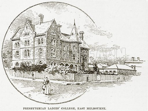 Presbyterian Ladies' College, East Melbourne. Illustration from Cassell's Picturesque Australasia by EE Morris (c 1889).