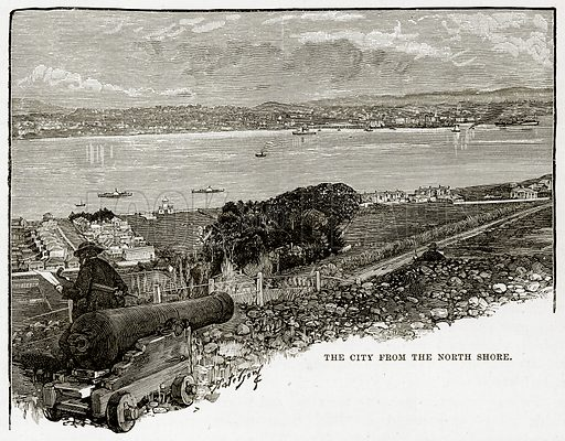 The City from the North Shore. Illustration from Cassell's Picturesque Australasia by EE Morris (c 1889).