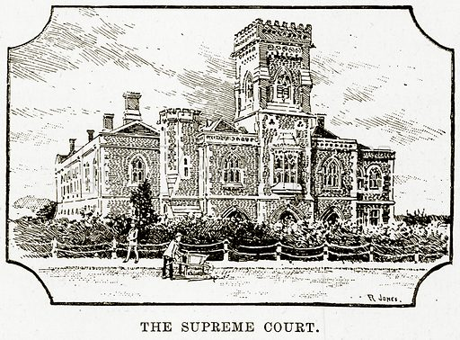 The Supreme Court. Illustration from Cassell's Picturesque Australasia by EE Morris (c 1889).