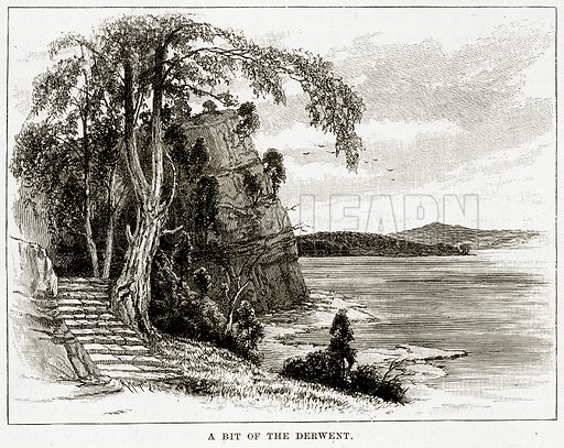 A bit of the Derwent. Illustration from Cassell's Picturesque Australasia by EE Morris (c 1889).
