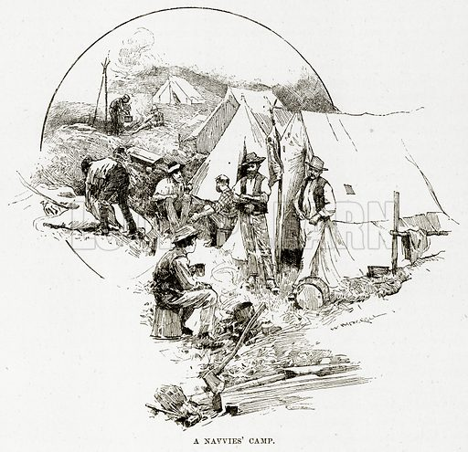A Navvies' Camp. Illustration from Cassell's Picturesque Australasia by EE Morris (c 1889).