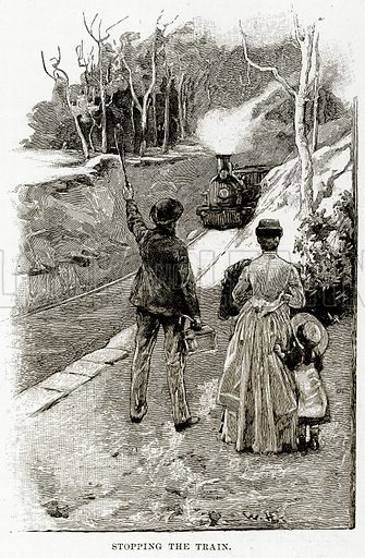 Stopping the Train. Illustration from Cassell's Picturesque Australasia by E E Morris (c 1889).