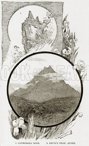 1. Cathedral Rock. 2. Devil's Peak, Quorn. Illustration from Cassell's Picturesque Australasia by EE Morris (c 1889).