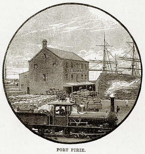 Port Pirie. Illustration from Cassell's Picturesque Australasia by EE Morris (c 1889).