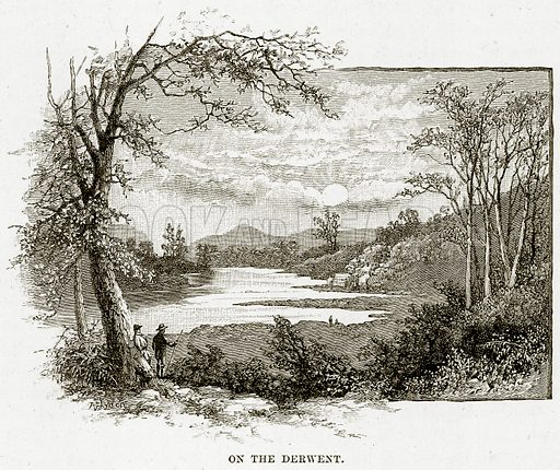 On the Derwent. Illustration from Cassell's Picturesque Australasia by EE Morris (c 1889).