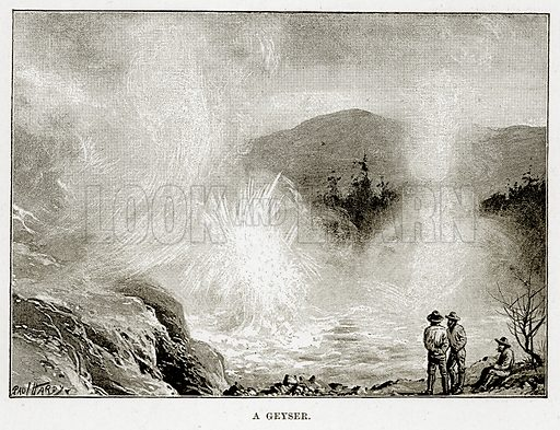 A Geyser. Illustration from Cassell's Picturesque Australasia by EE Morris (c 1889).