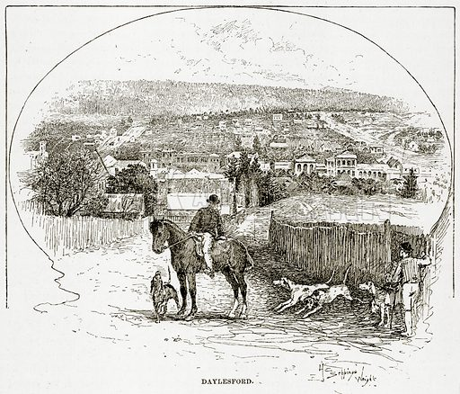 Daylesford. Illustration from Cassell's Picturesque Australasia by EE Morris (c 1889).