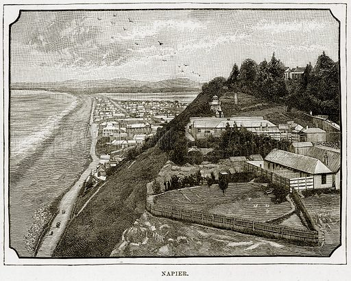 Napier. Illustration from Cassell's Picturesque Australasia by EE Morris (c 1889).