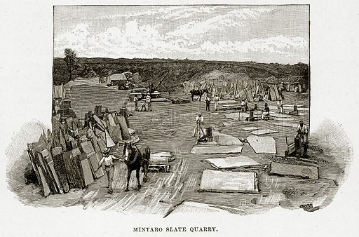 Mintaro Slate Quarry. Illustration from Cassell's Picturesque Australasia by EE Morris (c 1889).