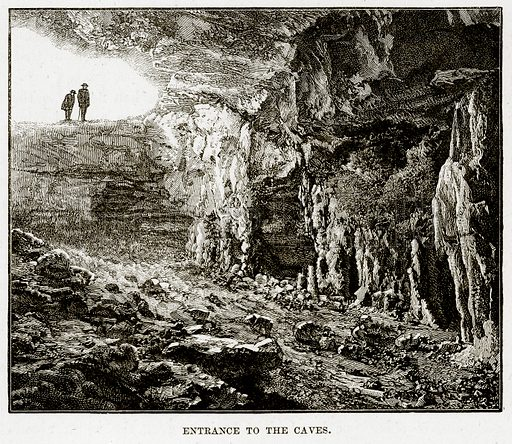 Entrance to the Caves. Illustration from Cassell's Picturesque Australasia by EE Morris (c 1889).