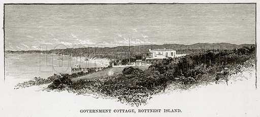Goverment Cottage, Rottnest Island. Illustration from Cassell's Picturesque Australasia by EE Morris (c 1889).