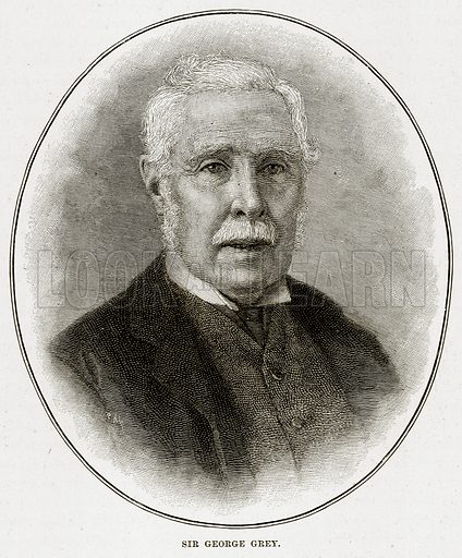 Sir George Grey. Illustration from Cassell's Picturesque Australasia by EE Morris (c 1889).