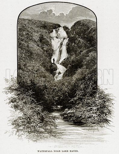 Waterfall near Lake Hayes. Illustration from Cassell's Picturesque Australasia by EE Morris (c 1889).