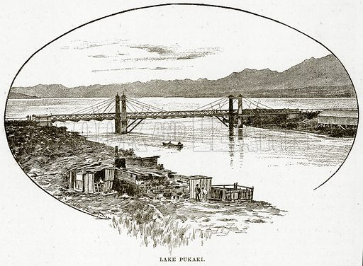 Lake Pukaki. Illustration from Cassell's Picturesque Australasia by EE Morris (c 1889).