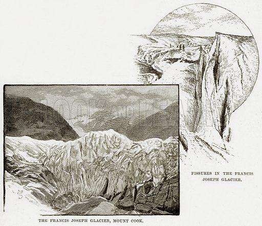 The Francis Joseph Glacier, Mount Cook. Fissures in the Francis Joseph Glacier. Illustration from Cassell's Picturesque Australasia by EE Morris (c 1889).