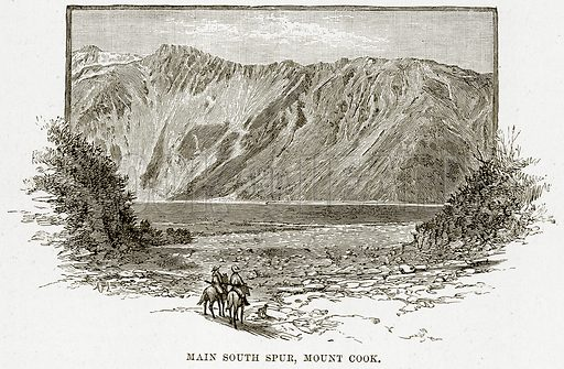 Main South Spur, Mount Cook. Illustration from Cassell's Picturesque Australasia by EE Morris (c 1889).
