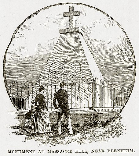 Monument at Massacre Hill, near Blenheim. Illustration from Cassell's Picturesque Australasia by EE Morris (c 1889).