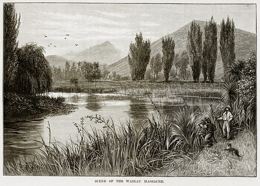 Scene of the Wairau Massacre. Illustration from Cassell's Picturesque Australasia by EE Morris (c 1889).