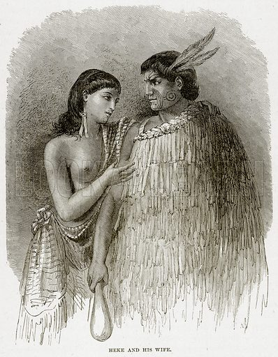 Heke and his wife. Illustration from Cassell's Picturesque Australasia by EE Morris (c 1889).