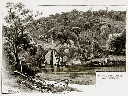 On the Todd River, Port Lincoln. Illustration from Cassell's Picturesque Australasia by EE Morris (c 1889).